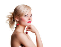 Beautiful blonde with berry Stock Photography