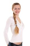 Beautiful blonde with big braid Royalty Free Stock Photo
