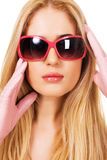 Beautiful blonde in a big sunglasses Stock Photo