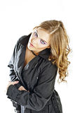 Beautiful blonde in a black cloak Royalty Free Stock Photography