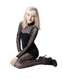 Beautiful blonde in  black dress Royalty Free Stock Photography