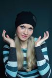 Beautiful blonde in black hat Royalty Free Stock Image