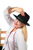 Beautiful blonde in black hat Stock Photo
