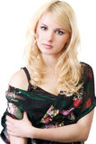 The beautiful blonde in a black jacket Royalty Free Stock Photography
