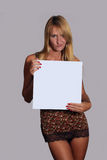 Beautiful Blonde with Blank White Card (3) Royalty Free Stock Image