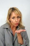 Beautiful Blonde Blows a Kiss Stock Photos