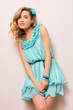 Beautiful blonde in blue dress, Stock Image