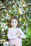 Beautiful blonde blue-eyed girl. In a flowering apple orchard stock image