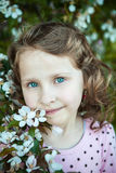 Beautiful blonde blue-eyed girl. In a flowering apple orchard Royalty Free Stock Photography