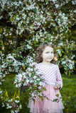 Beautiful blonde blue-eyed girl. In a flowering apple orchard stock photo