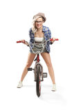 Beautiful blonde with a BMX bike Royalty Free Stock Images