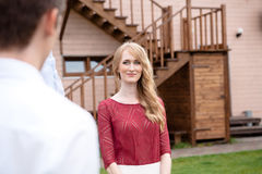 Beautiful blonde bride looking at Handsome groom Royalty Free Stock Photo