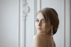 Beautiful Blonde Bride Portrait Wedding Makeup. Wedding Hairstyle. Close Up Face royalty free stock photo