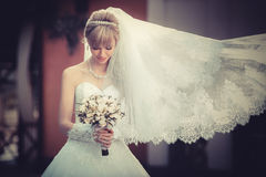 Beautiful Blonde Bride With Wedding Bouqet In The Hands Royalty Free Stock Image