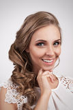 Beautiful Blonde Bride Young Woman Smiling. Fashion Hairstyle Stock Image