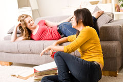 Beautiful blonde and brown teenager girls Stock Images