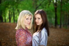 A beautiful blonde and brunette girls in forest Royalty Free Stock Image