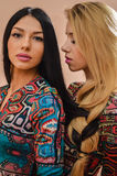 Beautiful blonde and brunette sexy girls standing together Royalty Free Stock Image