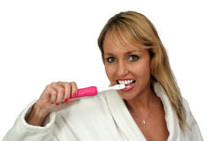 Beautiful Blonde Brushing Her Teeth (1) royalty free stock photography