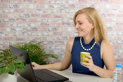 Beautiful blonde business woman Royalty Free Stock Image