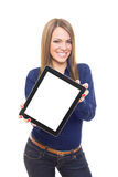 Beautiful blonde businesswoman showing tablet screen Stock Image