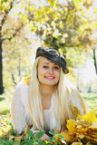 Beautiful blonde in a cap Royalty Free Stock Photo