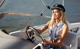 Beautiful blonde captain Royalty Free Stock Image