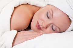 Beautiful blonde caucasian woman in spa Stock Photography