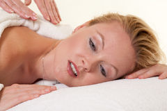 Beautiful blonde caucasian woman in spa Royalty Free Stock Photo