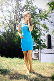 Beautiful blonde in a chateau enviroment. Beautiful blonde in a blue dress posing in a chateau park, fashion photography Stock Image