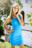 Beautiful blonde in a chateau enviroment Royalty Free Stock Image