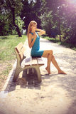 Beautiful blonde in a chateau enviroment Royalty Free Stock Photos