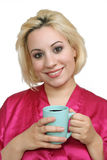 Beautiful Blonde with Coffee (1) Stock Images