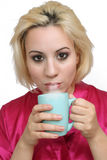 Beautiful Blonde with Coffee (3) Stock Photo