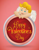 Beautiful Blonde Cupid Behind Valentine's Holiday Button, Vector Illustration Royalty Free Stock Photo