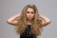 Beautiful blonde with curly Royalty Free Stock Photo