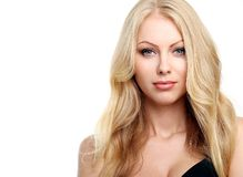 Beautiful blonde with curly hair royalty free stock images