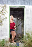 Beautiful Blonde in a Dilapidated House (1) Stock Photography