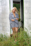 Beautiful Blonde in a Dilapidated House (2) Stock Image