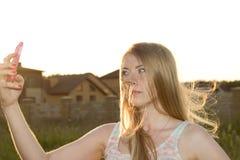 Beautiful blonde doing SELF Stock Photo
