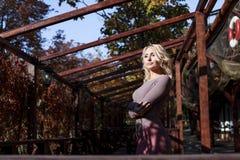 Beautiful blonde in dress walks in autumn Stock Images