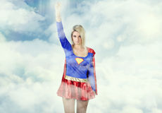 Beautiful blonde dressed as a super hero Royalty Free Stock Photo