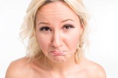 Beautiful blonde emotional face Stock Photos