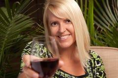 Beautiful Blonde Enjoying Wine Stock Photography