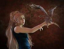 Beautiful blonde and fantasy dragon 3d illustration Stock Image