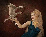 Beautiful blonde and fantasy dragon 3d illustration. 3D illustration beautiful blonde and fantasy dragon Stock Photos