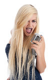Beautiful Blonde Female Singer In Blue Dress Royalty Free Stock Photography