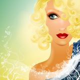 Beautiful Blonde Female Staring 2. An illustration featuring a beautiful woman with blonde curly hair, bright red lips and wearing a decorative blue draping Stock Photos
