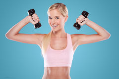 Beautiful blonde fitness model Stock Photography