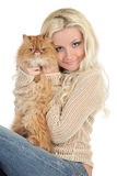 Beautiful blonde with a fluffy Persian cat Royalty Free Stock Photo